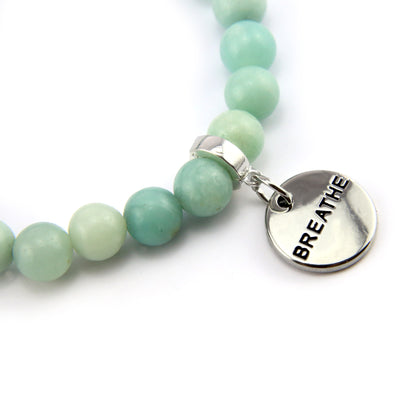 Lava Stone Bracelet -  8mm Aquamint Agate + Teal Lava Stone beads - with Silver Word Charm