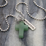 Cross & Crown Necklace - Dusty Green Adventurine - with Word Charm