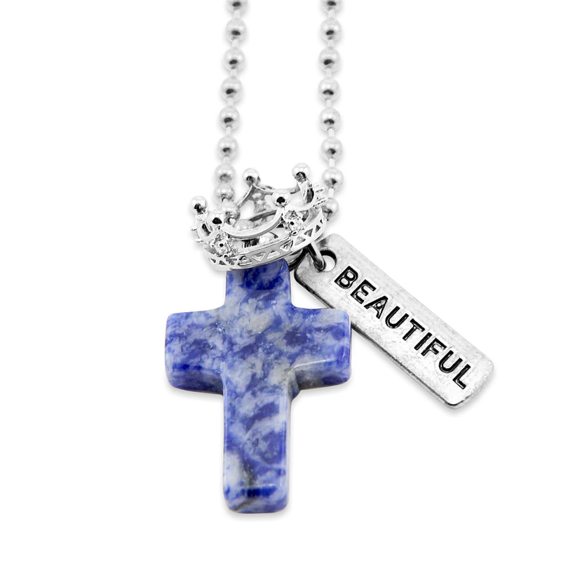 Cross & Crown Necklace - Sodalite Speckle Blue - With Word Charm ()
