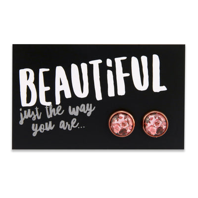 PINK COLLECTION - Beautiful just the way you are - Rose Gold surround circle studs - Rosie (9405)