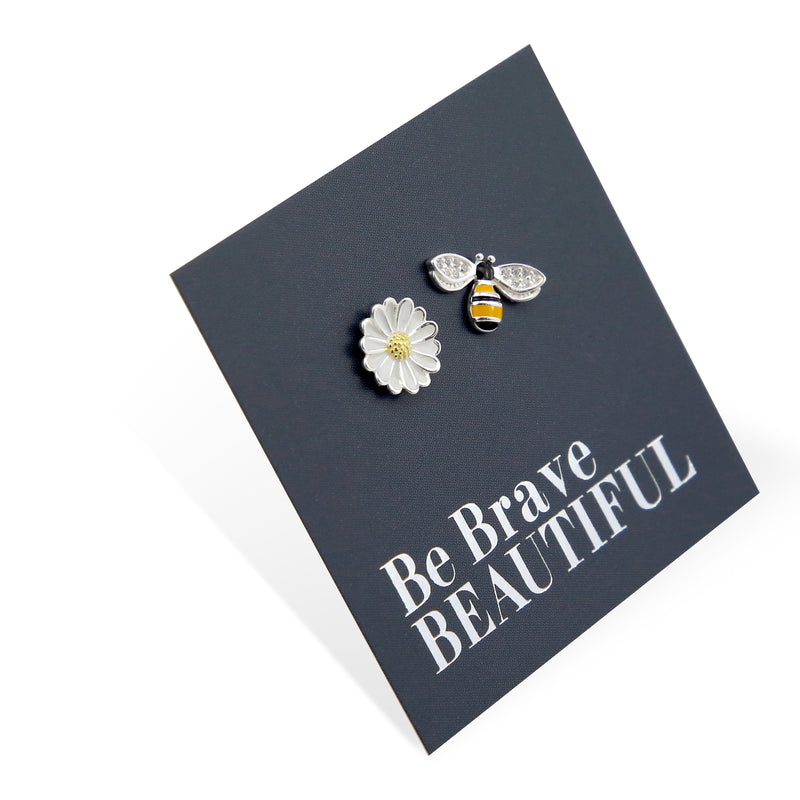 Bee and Flower Studs - Sterling Silver - Be Brave Beautiful (9815-R)