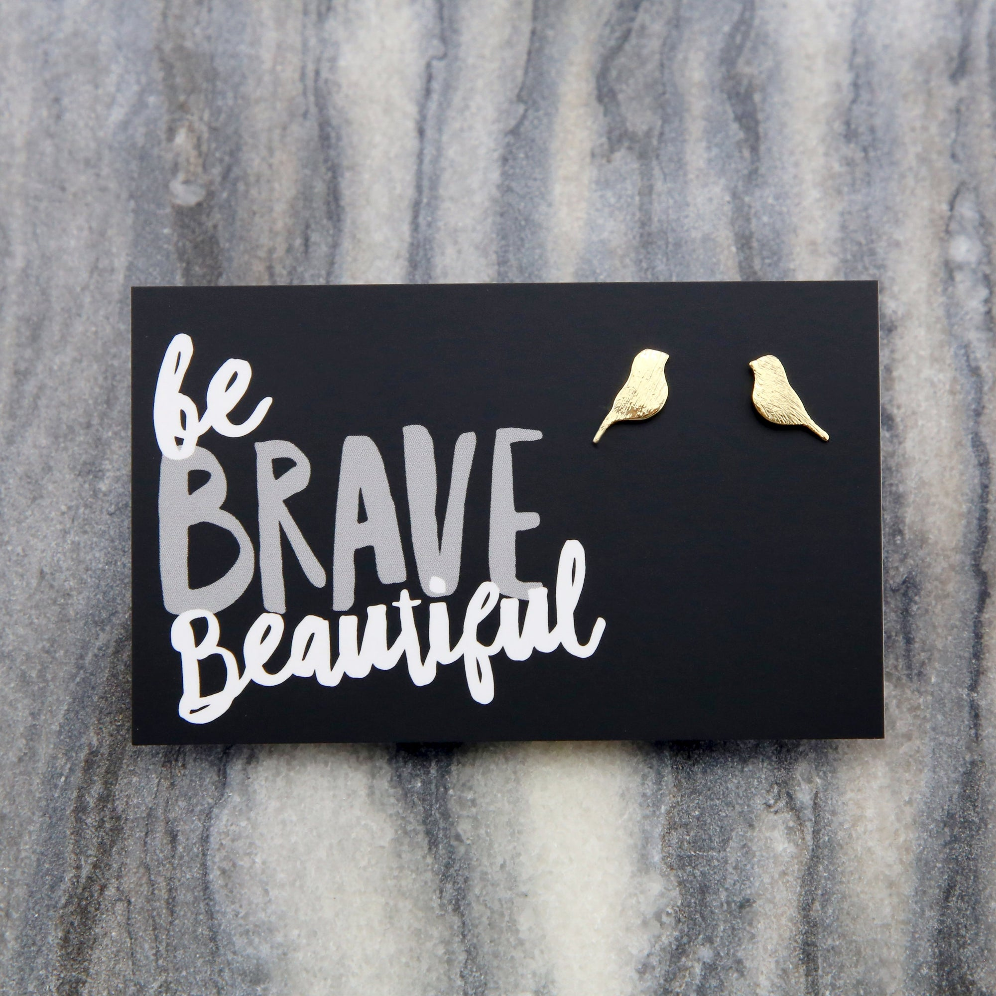 Be Brave Beautiful - BIRD Earrings! Plated Studs - Gold (9808)