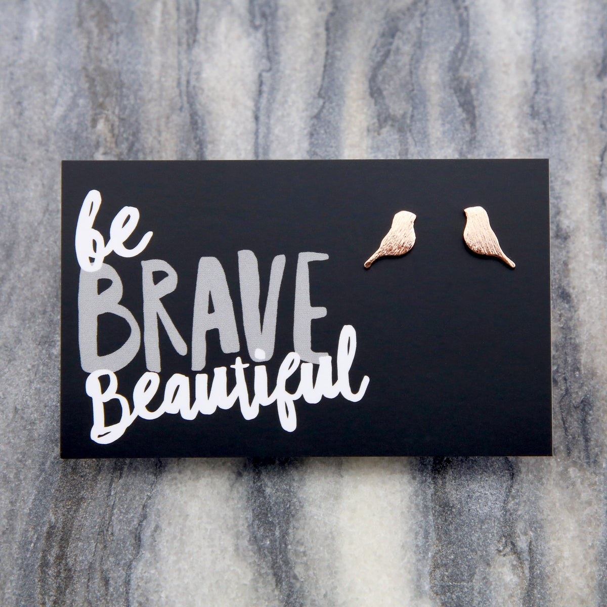 Be Brave Beautiful - BIRD earrings! Plated Studs - Rose Gold (9807)