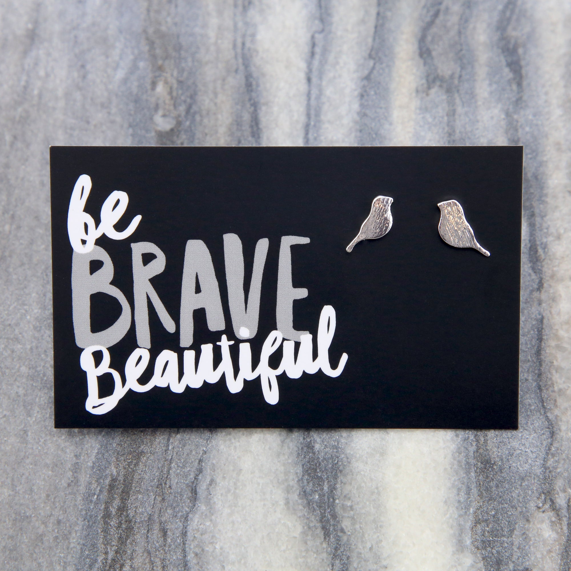Be Brave BIRDS! Plated Stud Earrings - Silver (9806)