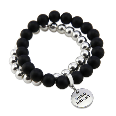 Bracelet Duo! Silver & Matt Black bead bracelet stacker set - SHINE BRIGHT (12055)
