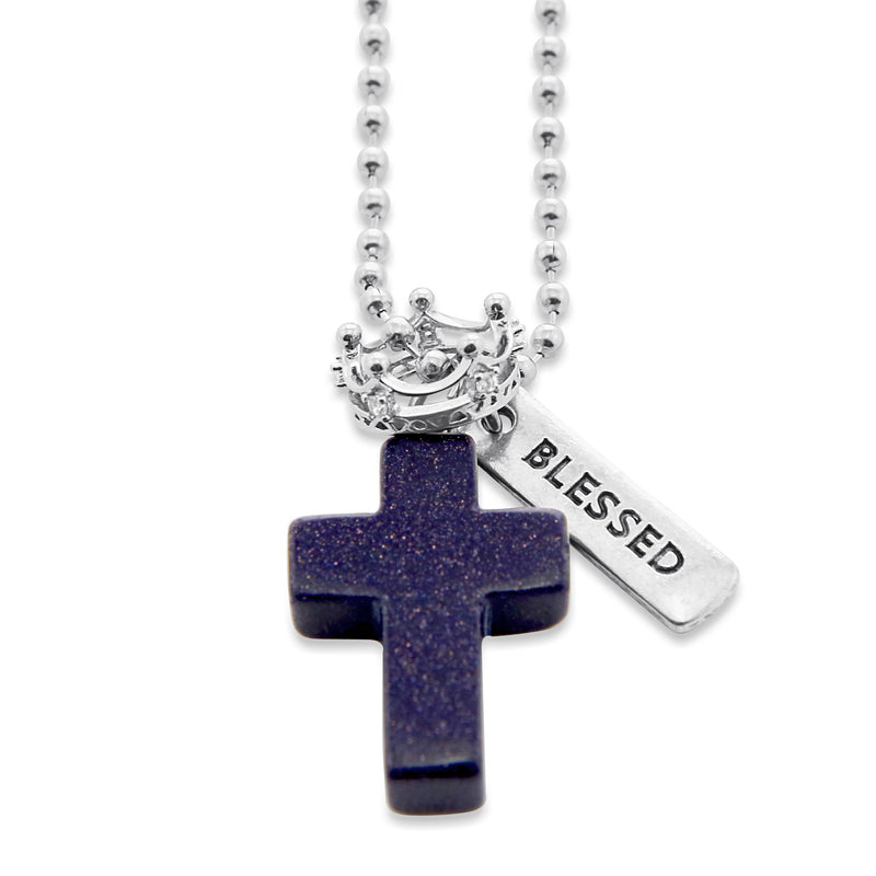 Cross & Crown Necklace - Midnight Blue Sand Stone Sparkle - With Word Charm