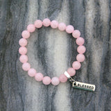 Stone Bracelet - Rose Quartz 8mm - with Word charm