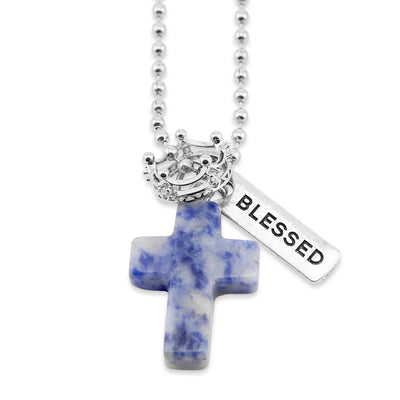 Cross & Crown Necklace - Sodalite Speckle Blue - With Word Charm (5011)
