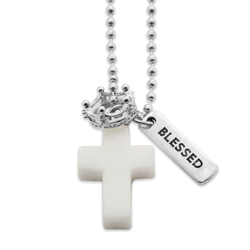 Cross & Crown Necklace - Pure White Jade - with Word charm