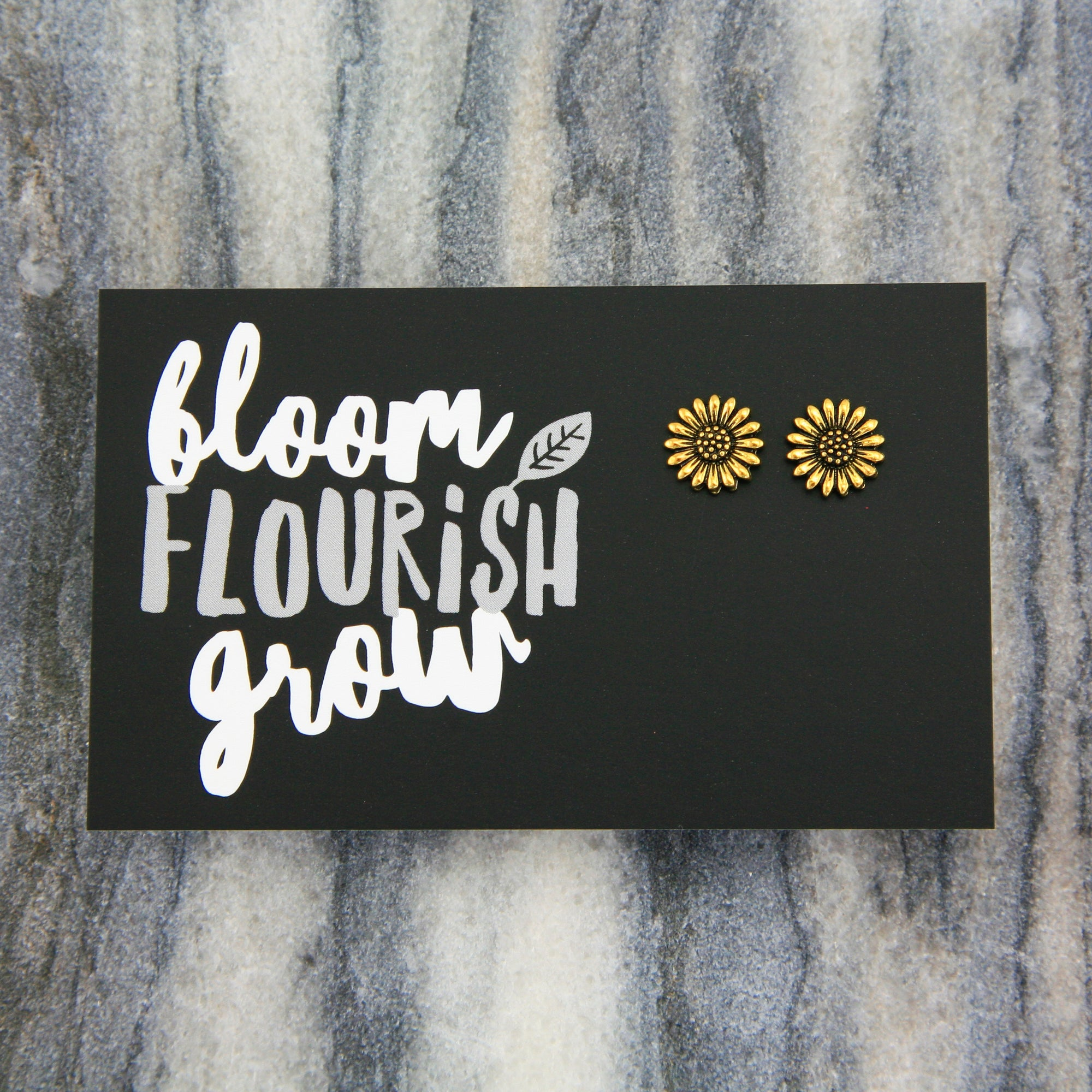 Forever Spring - BLOOM FLOURISH GROW! Sunflower Earring Studs - Bright Gold (9702)