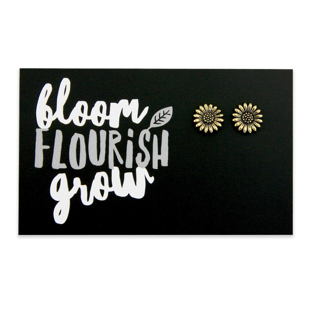 Forever Spring - BLOOM FLOURISH GROW! Sunflower Earring Studs - Vintage Gold (9714)