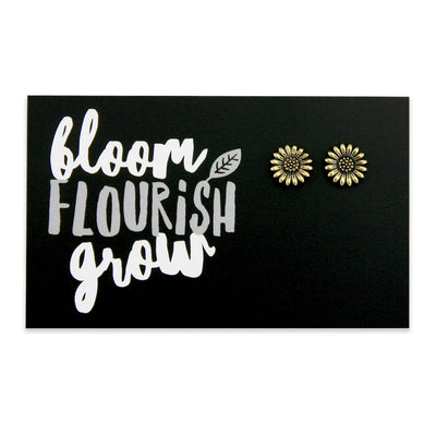 sunflower earrings attached to sister & soul card