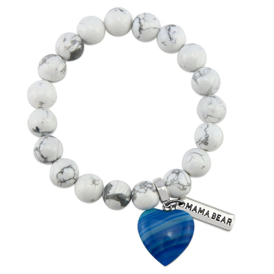 SWEETHEART Bracelet - 10mm WHITE MARBLE stone beads with BLUE Heart & Word Charm