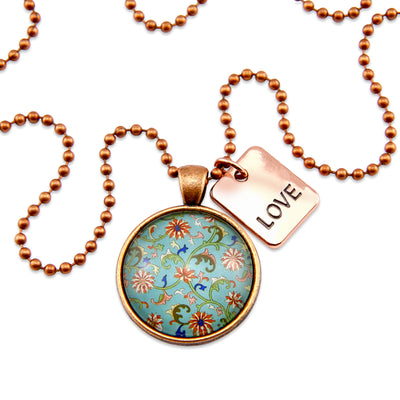 Vintage Copper & Floral ' LOVE ' Necklace - Blue Loveliness (10221)