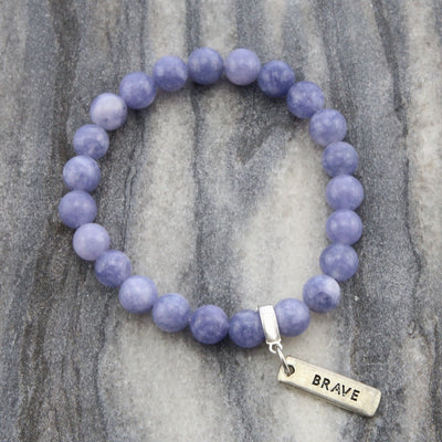 Stone Bracelet - Dusty Lilac Agate 8mm beads - with Word Charm