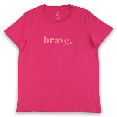 FUCHSIA Pink Brave Women's Tee T-Shirt. Fundraiser for The National Breast Cancer Foundation