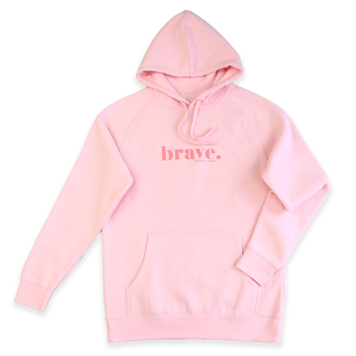 BRAVE HOODIE - Soft Pink with Pink Print