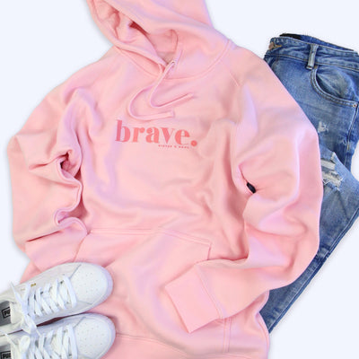 Women's Pink Hoodie with Pink Brave Print.