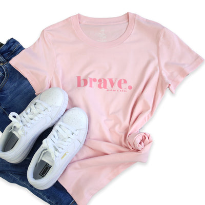 Soft Pink Brave Tee for Women. Fundriaser for the National Breast Cancer Foundation.