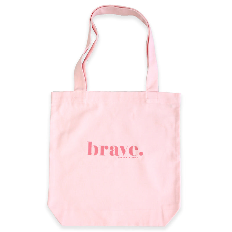 Pink Canvas Tote Bag with BRAVE print. Corporate Fundraiser for The National Breast Cancer Foundation t