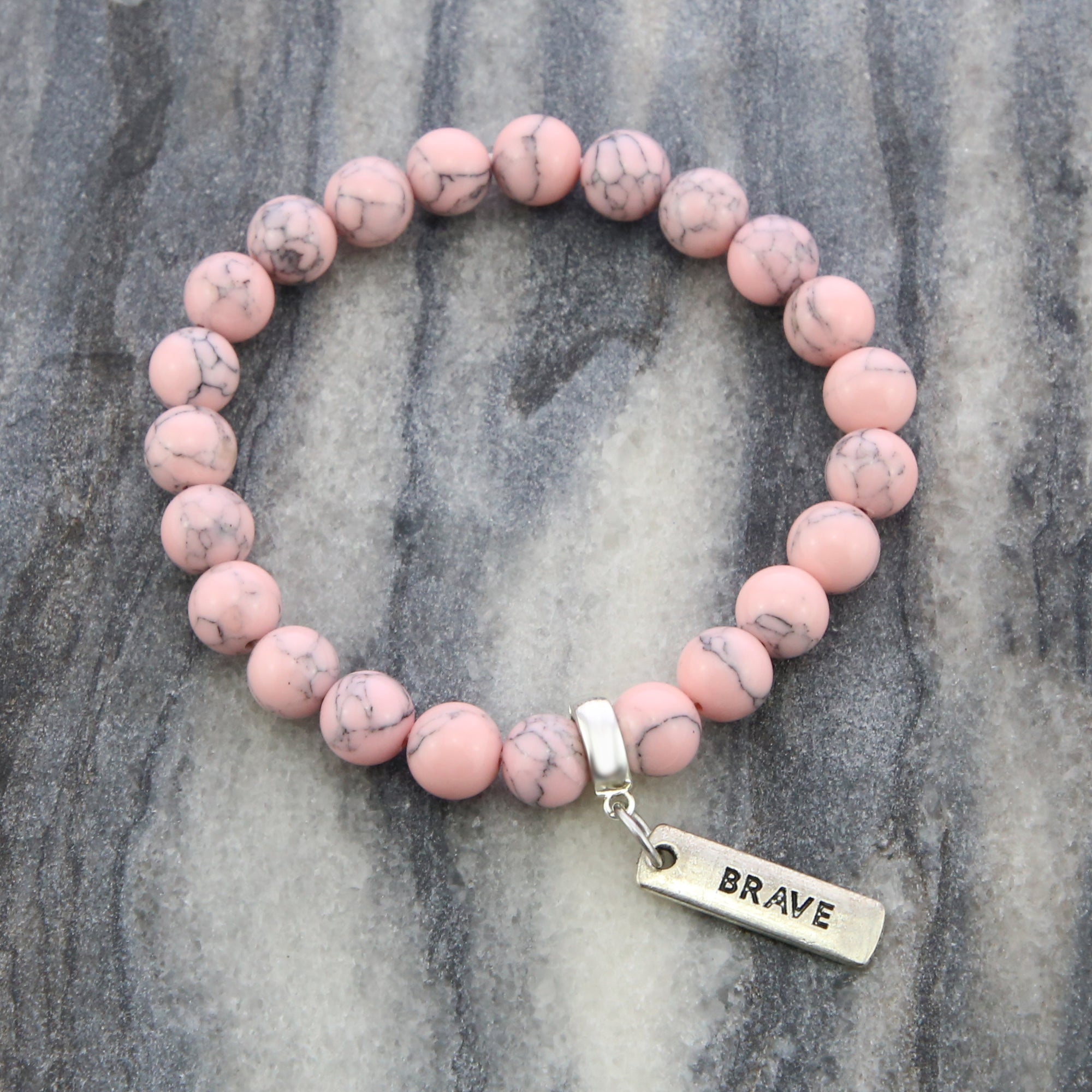 Stone Bracelet - Soft Pink Marbled Stone 8mm - with Word Charm