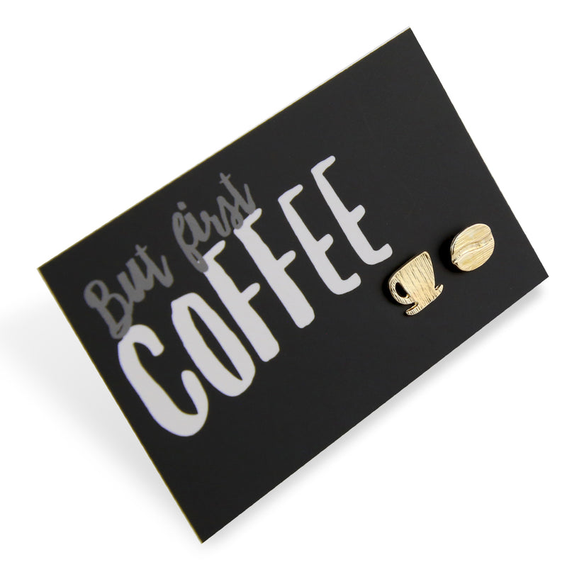 But First Coffee! Plated Stud Earrings - Gold (9705)