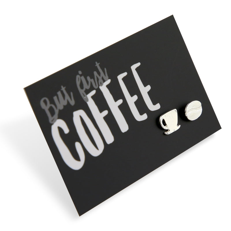 But First Coffee! Plated Stud Earrings - Silver (9703)