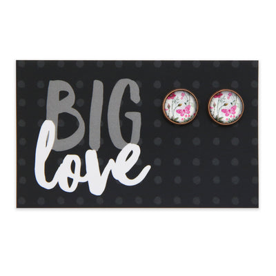 PINK COLLECTION - Big Love - Vintage Copper surround Circle Studs - Butterfly Buds (2304)