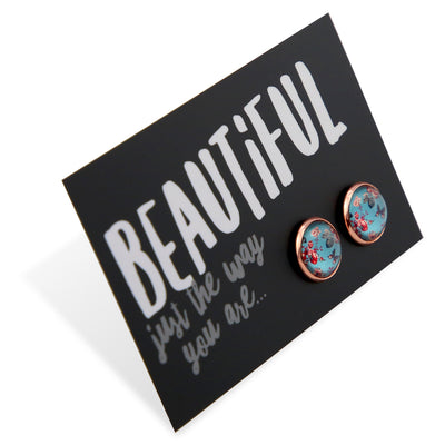 BOHO Collection - Beautiful Just The Way You Are - Rose Gold surround Circle Studs - Butterfly Fleur (8311-F)
