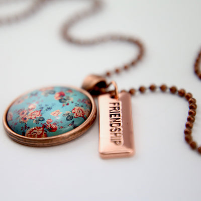 BOHO Collection - Vintage Copper 'FRIENDSHIP' Necklace - Butterfly Fleur (10535)