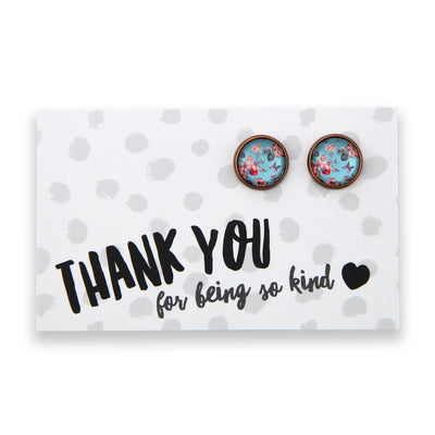 BOHO Collection - Thankyou For Being So Kind - Vintage Copper surround Circle Studs - Butterfly Fleur (8310-R)
