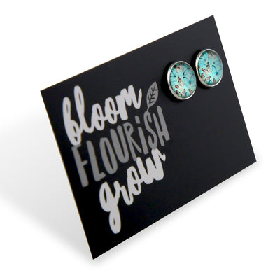 Heart & Soul Collection - Bloom Flourish Grow - Vintage Silver surround Circle Studs - Butterfly Flutter (9313)