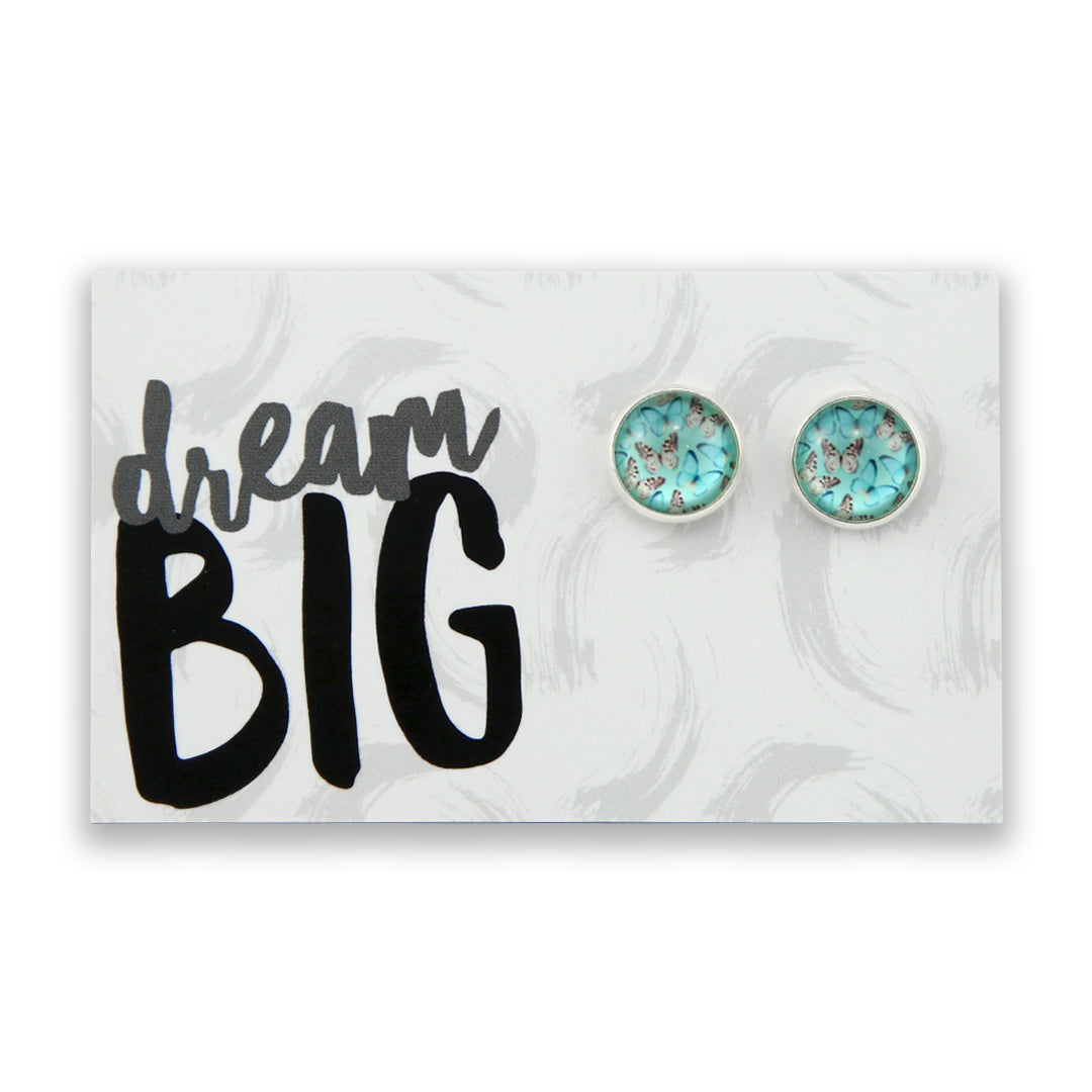 Heart & Soul Collection - Dream Big - Bright Silver surround Circle Studs - Butterfly Flutter (9409)