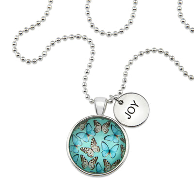 Heart & Soul Wings - Bright Silver ' JOY ' Necklace - Butterfly Flutter (10924)