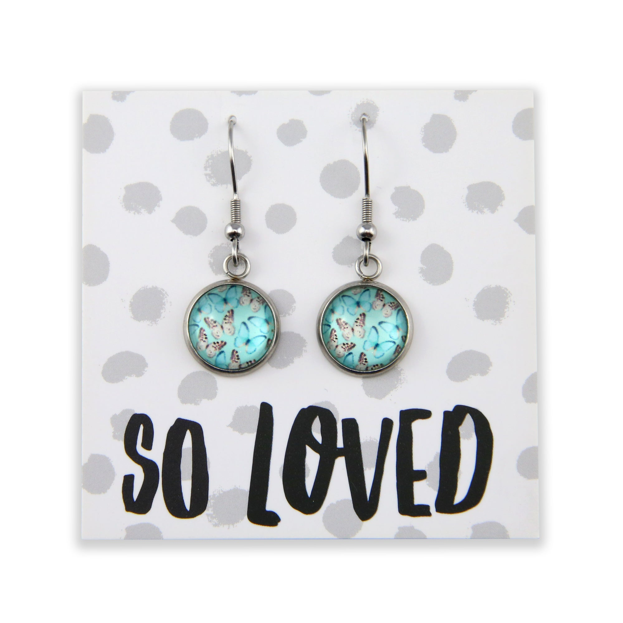 Heart & Soul Collection - So Loved - Stainless Steel Vintage Silver Dangle Earrings - Butterfly Flutter (9611)