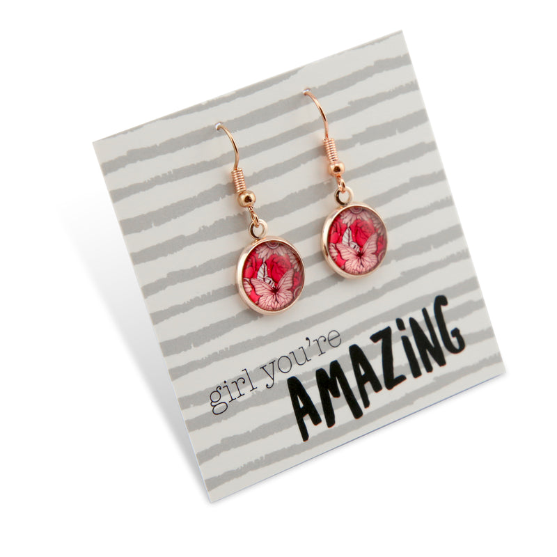 Pink Collection - Girl You're Amazing - Stainless Steel Rose Gold Dangle Earrings - Butterfly Patch (9816)