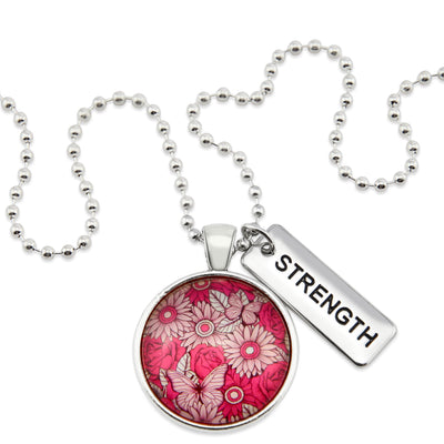PINK COLLECTION - Vintage Silver 'STRENGTH' Circle Necklace - Butterfly Patch (10261)