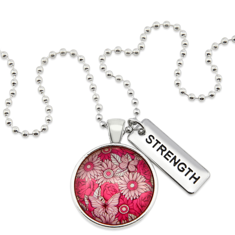 PINK COLLECTION - Vintage Silver 'STRENGTH' Circle Necklace - Butterfly Patch (10261-B)