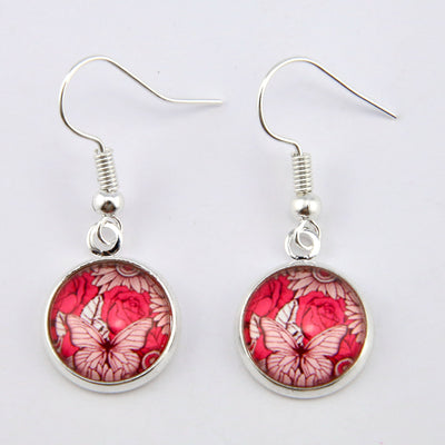Pink Collection - Grateful - Stainless Steel Bright Silver Dangle Earrings - Butterfly Patch (9609)