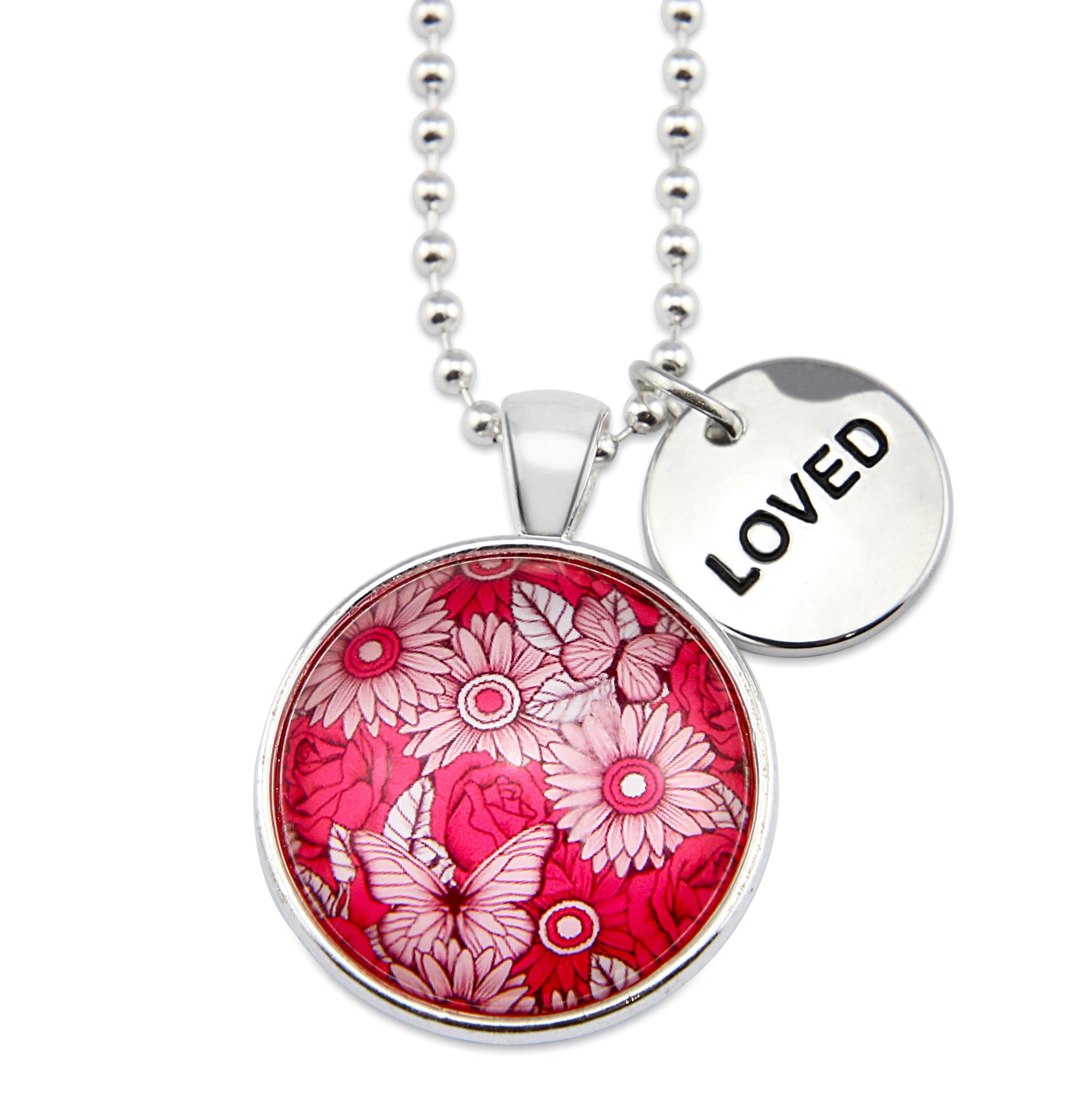 PINK COLLECTION - Bright Silver 'LOVED' Circle Necklace - Butterfly Patch (10411)