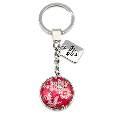 PINK COLLECTION - Vintage Silver 'NEVER GIVE UP'  Keyring -  Butterfly Patch (10343)