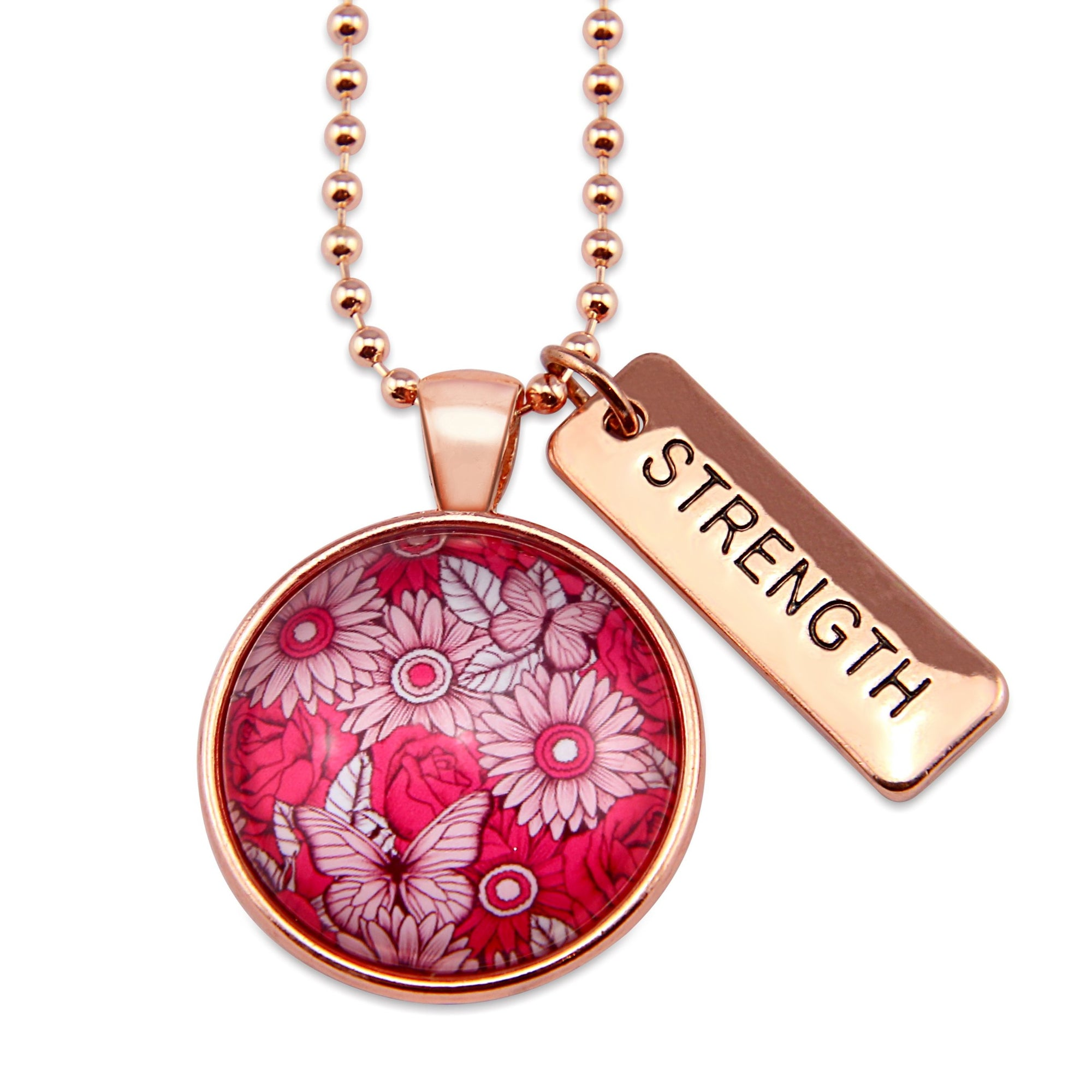 PINK COLLECTION - Rose Gold 'STRENGTH' Circle Necklace - Butterfly Patch (10663)