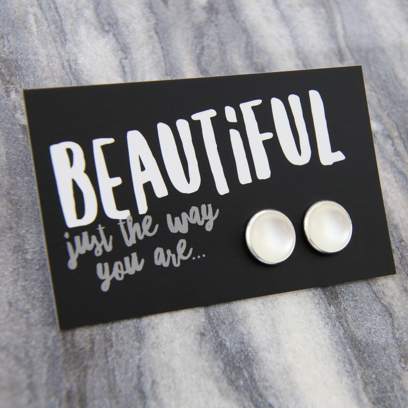 BEAUTIFUL just the way you are! White Pearl Resin in Bright Silver Earrings  (8808)