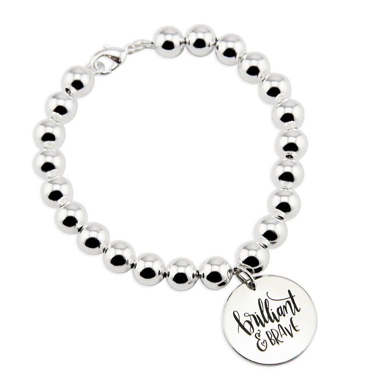 Silver Ball Bracelet 8mm - BRILLIANT & BRAVE (5010-2)