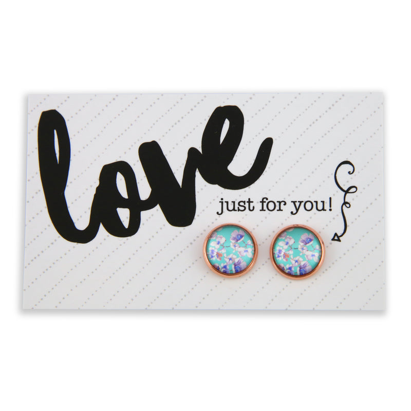 COLOUR POP Florals - Rose Gold Earring Studs LOVE just for you! Card - Celeste (8302)