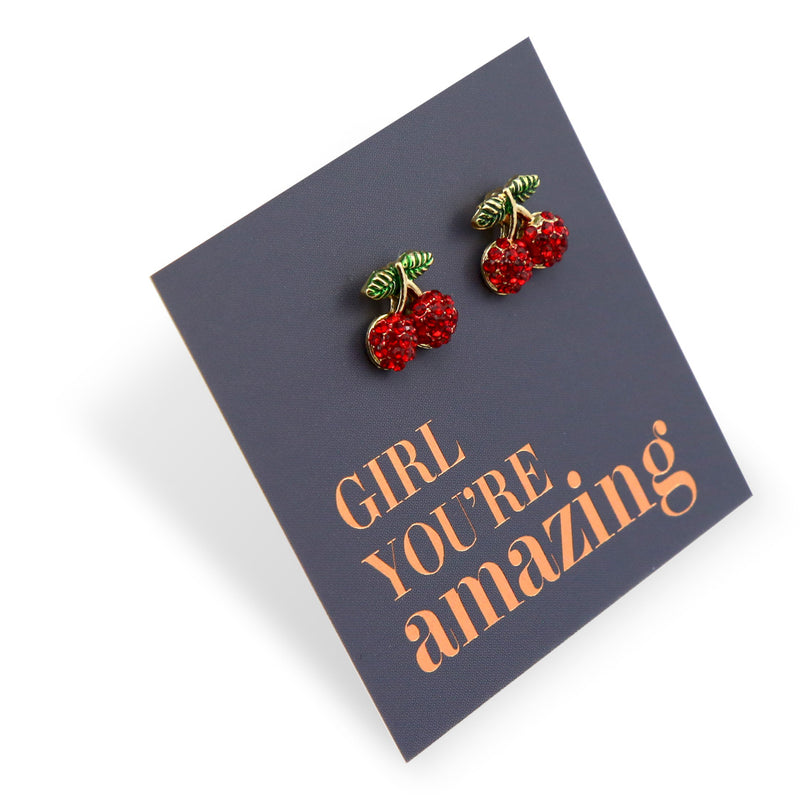 Red Cherry Studs - Gold with Sterling Silver - Girl You're Amazing (8516)