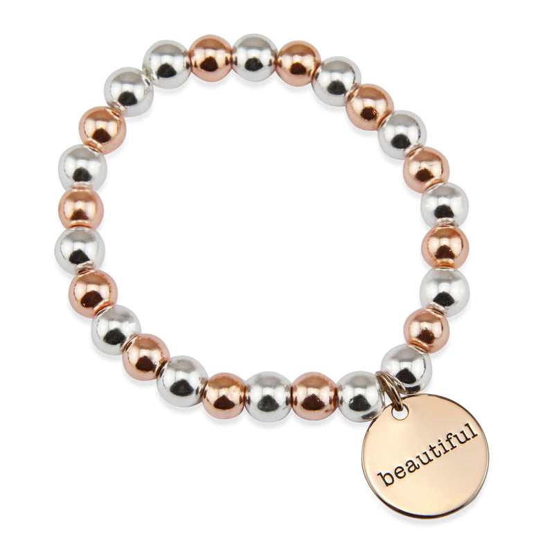 CoCo Bracelet! Rose Gold & Silver bead bracelet - BEAUTIFUL Rose Gold (12321)
