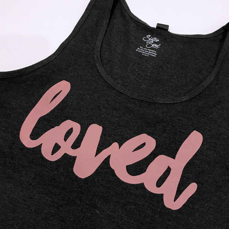 LOVED Tank - Charcoal Marle - Dusty Blush Pink Print