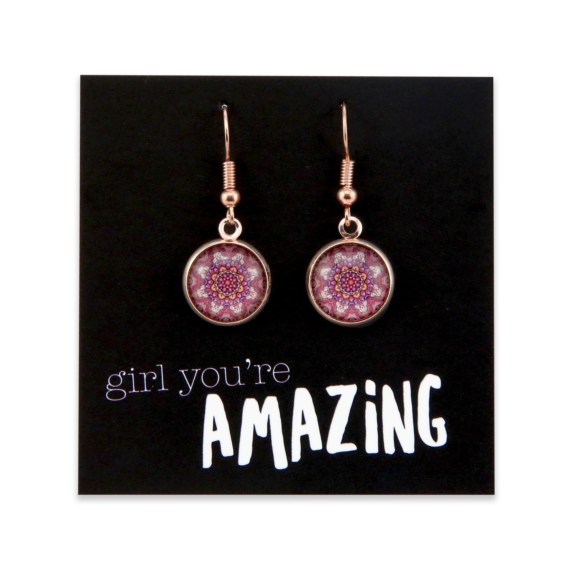 BOHO Collection - Girl You're Amazing - Stainless Steel Rose Gold Dangle Earrings - Daybreak (9112)