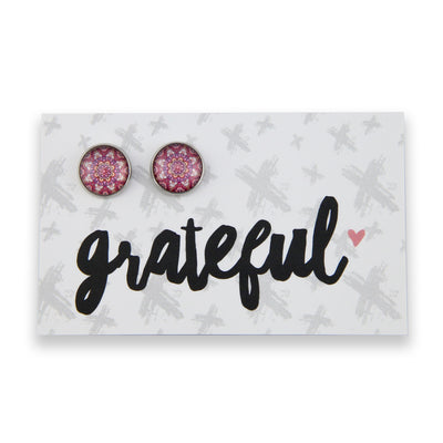 BOHO Collection - Grateful - Vintage Silver surround Circle Studs - Daybreak (8308-R)